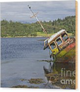 Old Boat In The Loch  Wood Print