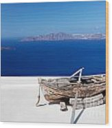 Old Boat On The Roof Of The Building On Santorini Greece Wood Print