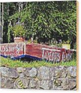 Old Boat Planter Wood Print