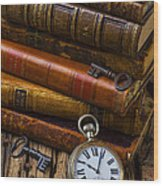 Old Books And Pocketwatch Wood Print