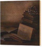 Old Books Wood Print