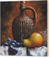 Old Bottle And Fruit II Wood Print