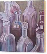 Old Bottles Wood Print by Kathy Weidner