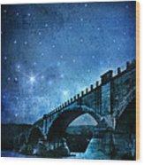 Old Bridge Over River Wood Print