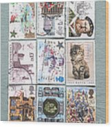 Old British Postage Stamps Wood Print