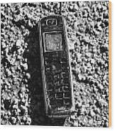 Old Broken Smashed Thrown Away Cheap Cordless Phone Usa Wood Print by Joe Fox