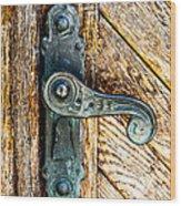 Old Bronze Church Door Handle Wood Print