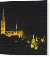Old Buda At Night Wood Print