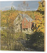 Old Buildings And Fall Colors In Vienna Maine Wood Print by Keith Webber Jr