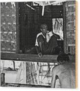 Old Burmese Smoker Woman Wood Print