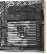 Old Cabin At Fort Washita In Bw Wood Print