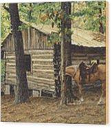 Log Cabin - Back View - At Big Creek Wood Print