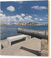 Old Cannon And Queen Juliana Bridge Curacao Wood Print