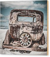 Old Car In The Snow Wood Print