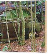 Old Car In The Woods Wood Print
