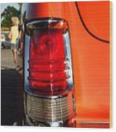 Old Car Tail Light Wood Print