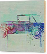 Old Car Watercolor Wood Print
