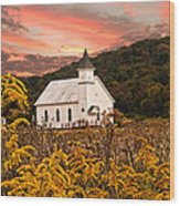 Old Carmel Ohio Church Wood Print