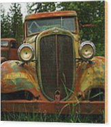 Old Cars Left To Decorate The Weeds Wood Print