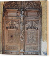 Old Carved Church Door Wood Print