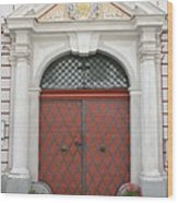 Old Carved Red  Door Wood Print
