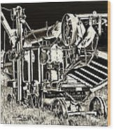 Old Case Thresher - Black And White Wood Print