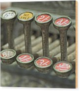 Old Cash Register Keys - Shillings And Pence  Wood Print by Sally Nevin