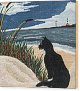 Old Cat And The Sea Wood Print