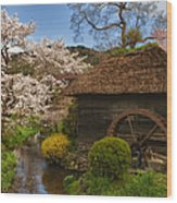 Old Cherry Blossom Water Mill Wood Print