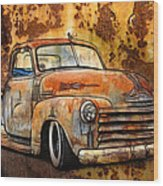Old Chevy Rust Wood Print