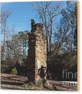 Old Chimney Still Standing Wood Print