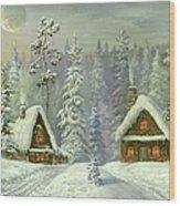 Old Christmas Card Wood Print
