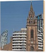 Old Church Amongst New High Rise Modern Apartments Wood Print