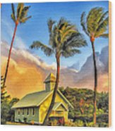 Old Church At Honokawai Maui Wood Print