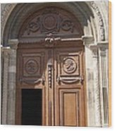 Old Church Door Cathedral Autun Wood Print