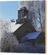 Old Church In Ice Wood Print