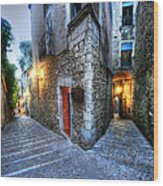 Old City Girona Wood Print by Isaac Silman