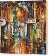 Old City Street - Palette Knife Oil Painting On Canvas By Leonid Afremov Wood Print