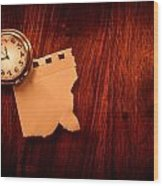 Old Clock Note Wood Print