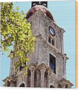 Old Clock Tower In Rhodes City Greece Wood Print