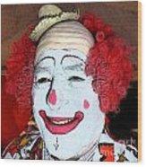 Old Clown Backstage Wood Print
