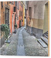 Old Colorful Stone Alley Wood Print