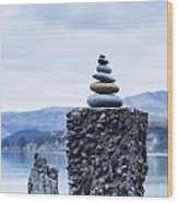 Old Concrete Jetty Posts Governors Bay Banks Peninsula New Zealand Wood Print
