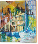 Old Copenhagen thru Stained Glass Wood Print