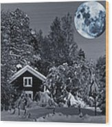 Old Cottage And Landscape With A Full Moon Wood Print