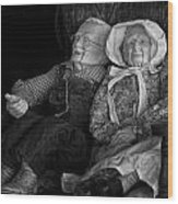 Old Couple Mannequins In Shop Window Display Wood Print