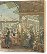 Old Covent Garden Market Wood Print by George the Elder Scharf