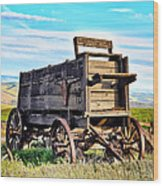 Old Covered Wagon Wood Print