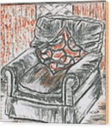 Old Cozy Chair Wood Print