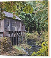 Old Creek Grist Mill In Autumn Wood Print